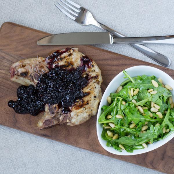 Pork Chops with Blackberry Sauce & Lemon Arugula Salad