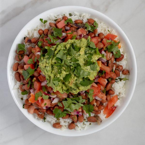 Veggie Burrito Bowl with Salsa & Guacamole