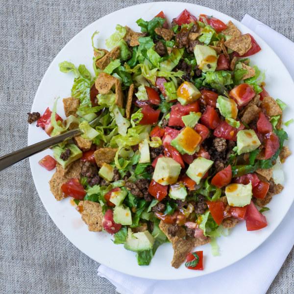 Beef Taco Salad with Avocado & Catalina Dressing