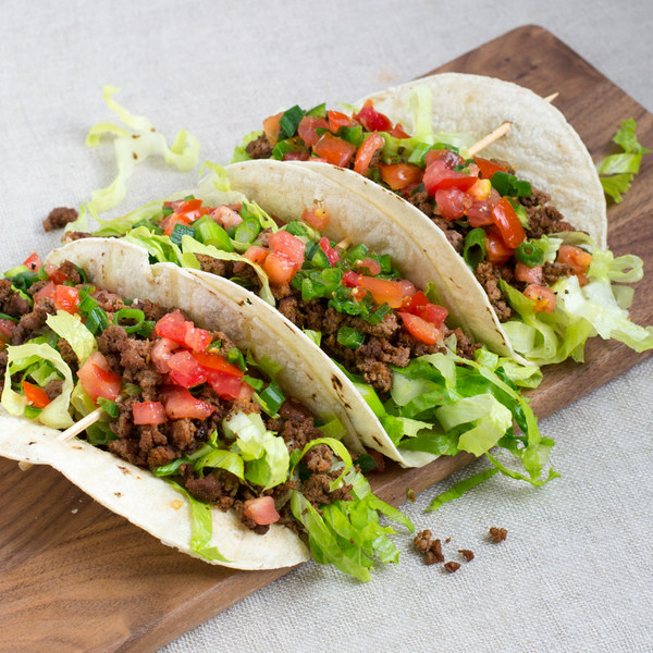 Soft Beef Tacos with Shredded Romaine & Spicy Salsa