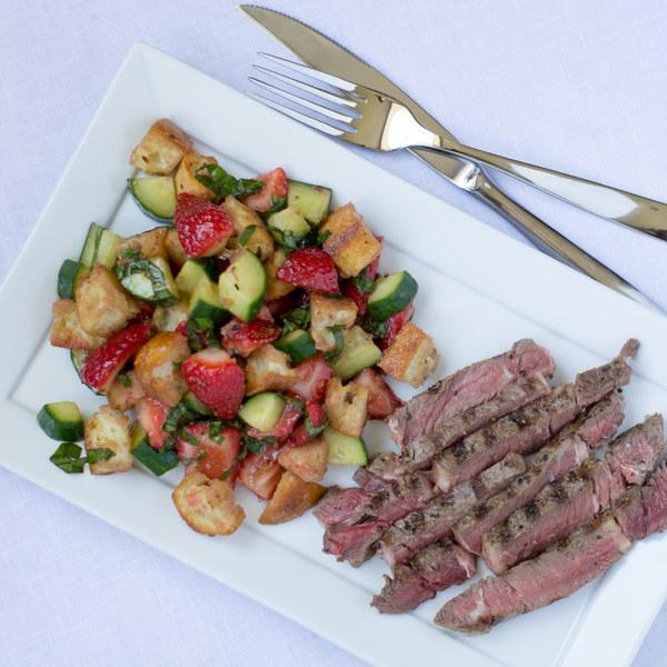 Grilled Steak with Strawberry Panzanella Salad