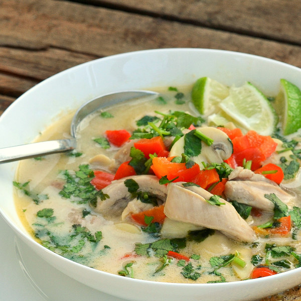 Thai Coconut Chicken Soup with Mushrooms & Bell Pepper
