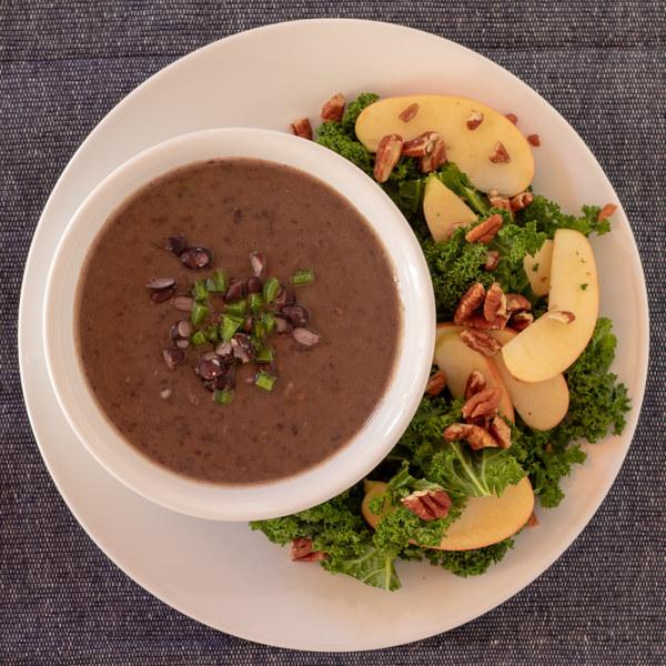 Black Bean Soup with Kale, Apple & Pecan Salad
