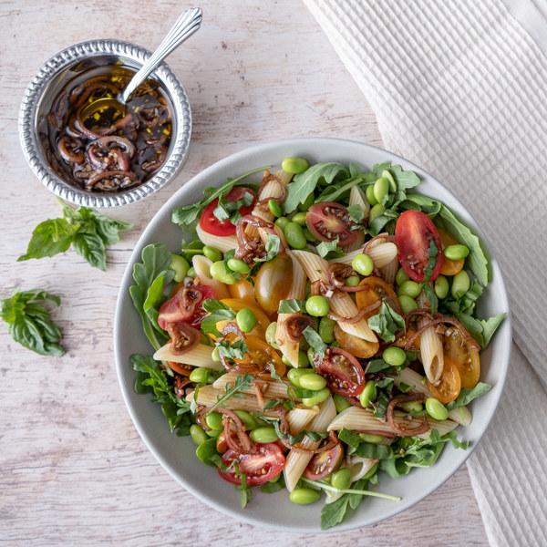 Pasta Salad with Tomatoes, Edamame, Arugula & Balsamic Vinaigrette