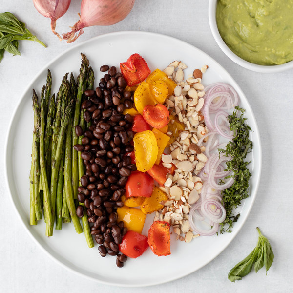 Warm Asparagus Salad with Roasted Peppers, Black Beans & Almonds