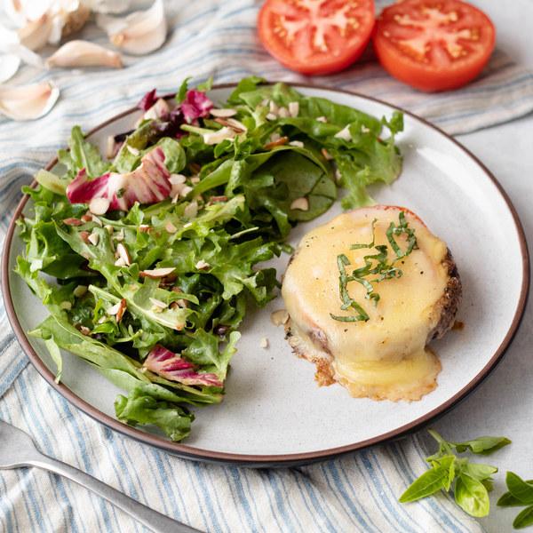 Portobello-Tomato Melts with Simple  Greens