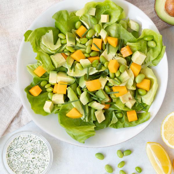 Mango, Avocado & Edamame Salad with Lemony Chive Dressing