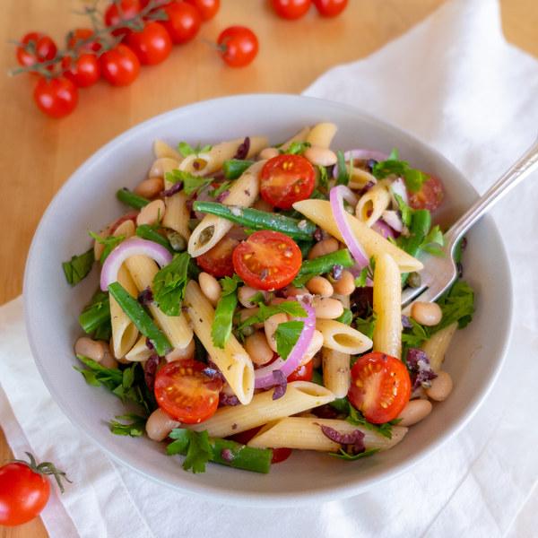 Cannellini Bean Nicoise Pasta Salad with Kalamata Olive-Caper Vinaigrette