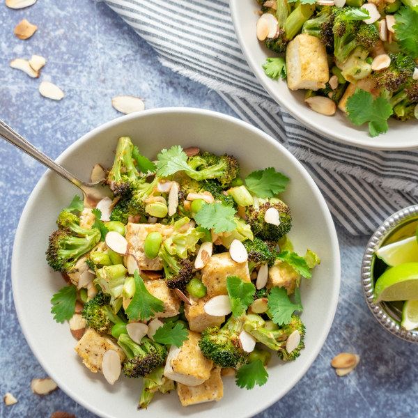 Charred Broccoli Bowl with Tofu, Edamame, Almonds, Cilantro & Lime