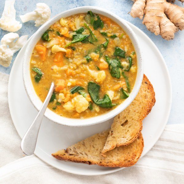 Indian Spiced Lentil Soup with Sweet Potato, Spinach & Toast