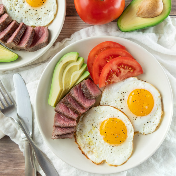 Classic Steak & Eggs Breakfast with Avocado and Tomato