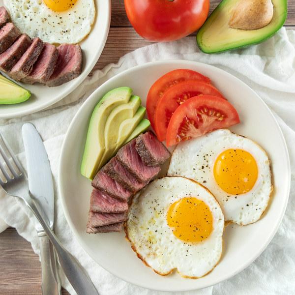 Classic Steak & Eggs Breakfast with Avocado and Tomato