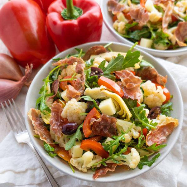 Antipasto Cauliflower Salad with Crispy Prosciutto, Artichokes & Mozzarella