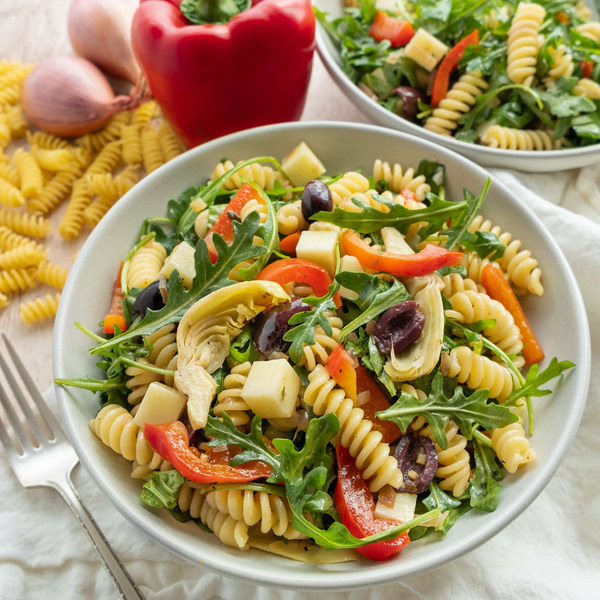 Antipasto Pasta Salad with Arugula, Mozzarella, Artichokes & Olives